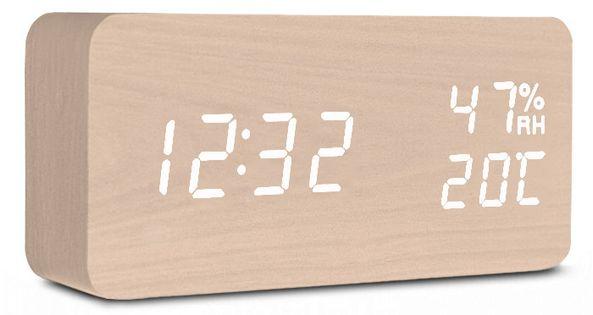 XONIX GHY-016 Drewniany budzik na baterie, termometr, wilgotnościomierz, podświetlenie, czytelne cyfry
