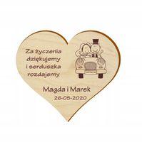 Podziękowanie GOŚCI Ślub WESELE MAGNES serce 10szt