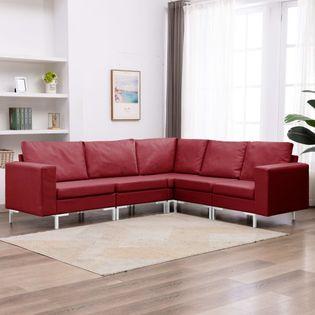 VidaXL 5-cz. zestaw wypoczynkowy, tapicerowany tkaniną, czerwone wino