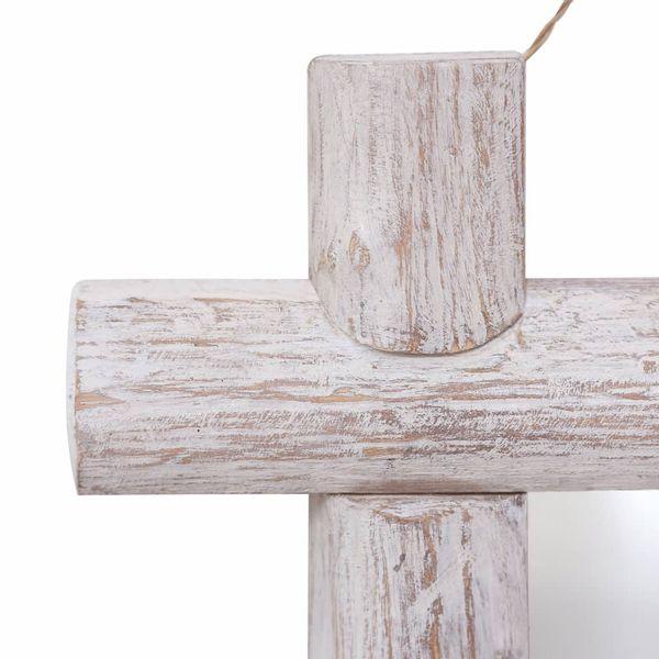 Lustro W Ramie Z Belek, Białe, 50X50 Cm, Lite Drewno Z Odzysku zdjęcie 4