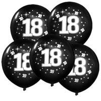 Balony na 18 URODZINY czarne osiemnastka 5 szt