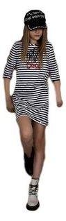 Bawełniana Tunika w paski i spódnica z tiulem dla dziewczynki od MałaMi 98/104