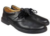 Półbuty LESTA 4128 czarny Rozmiar obuwia - 44, Kolor - Czarny