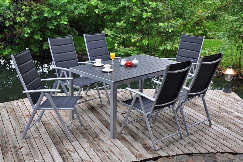 Meble ogrodowe aluminiowe Ibiza Silver / Black 6+1 zdjęcie 2