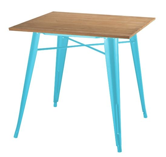 Stół TOWER WOOD niebieski - blat jesion/metal zdjęcie 1