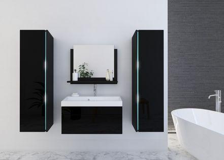 Łazienka SHINE z umywalką 80 Lustro Połysk LED zestaw mebli wiszących