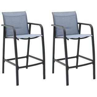 Lumarko Ogrodowe krzesła barowe, 2 szt., szare, tworzywo textilene!