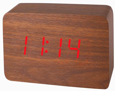 XONIX GHY-012 Drewniany budzik LCD na baterię, datownik, termometr, sterowanie głosowe, 3 x alarm
