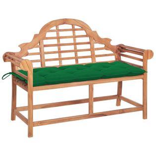 Lumarko Ławka ogrodowa z zieloną poduszką, 120 cm, lite drewno tekowe!