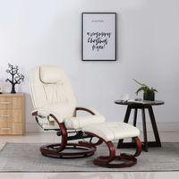 VidaXL Fotel rozkładany do masażu z podnóżkiem, kremowa biel, ekoskóra