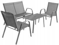 Meble Ogrodowe Zestaw Krzesła + Stół + Ławka Sofa Vegas Grey