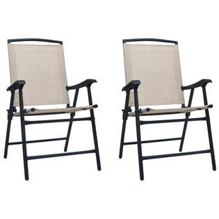 Lumarko Składane krzesła ogrodowe, 2 szt., tworzywo textilene, kremowe