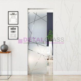 drzwi szklane przesuwne chowane w ścianę skrzydło wzór matowy W3