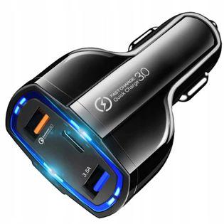 ŁADOWARKA SAMOCHODOWA 2x USB 1x Type-C Quick 3.0