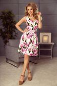 Rozkloszowana sukienka z kontrafałdami - Kremowy XL
