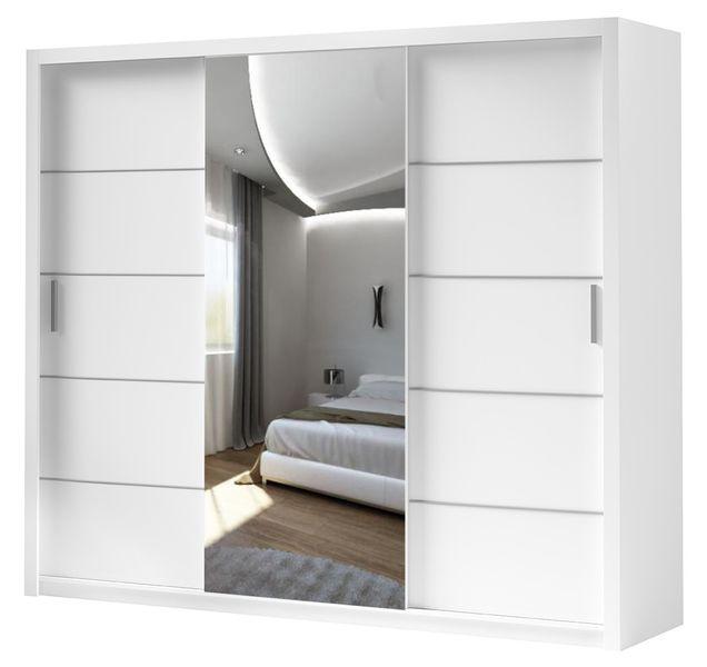 Szafa przesuwna 250cm BOLT Biały mat + lustro - 4 kolory zdjęcie 1