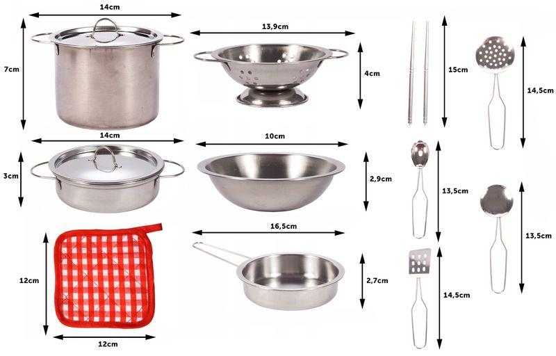 Garnki metalowe dla dzieci akcesoria kuchenne zestaw 14 elementów U30 zdjęcie 5