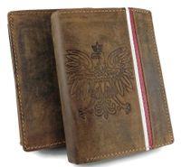 WYJĄTKOWY Męski portfel Skóra 100% RFID GODŁO FLAGA Patriotyczny