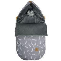 Śpiworek do wózka Dark Grey Feathers Velvet S/M (0-1 Roku) Lanila wyprawka dla dziecka