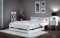 Łóżko 160x200 sosnowe białe Stelaż Zagłówek A1