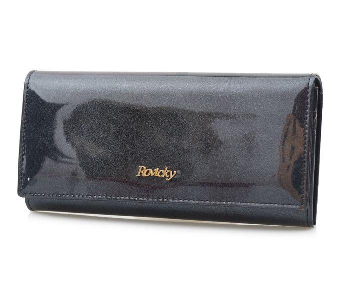 ROVICKY portfel skórzany damski lakierowany RFID P085 czarny zdjęcie 1