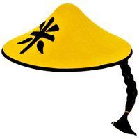 kapelusz CHIŃCZYK czapka CHIŃSKA ŻÓŁTY z włosami
