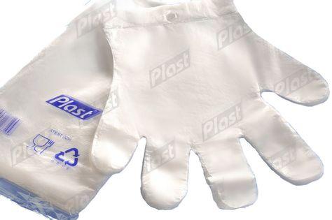 Rękawice foliowe  zrywki HDPE z zawieszką 100 szt