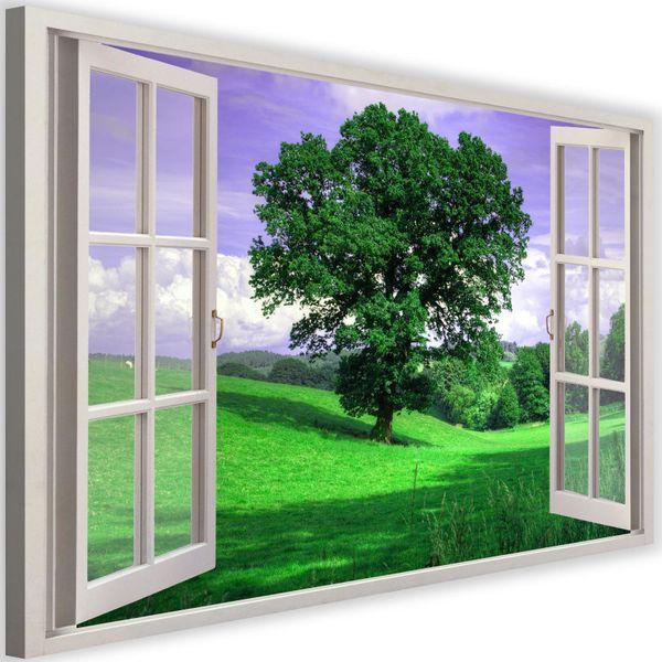 Obraz na płótnie - Canvas, okno - drzewo 120x80 zdjęcie 1