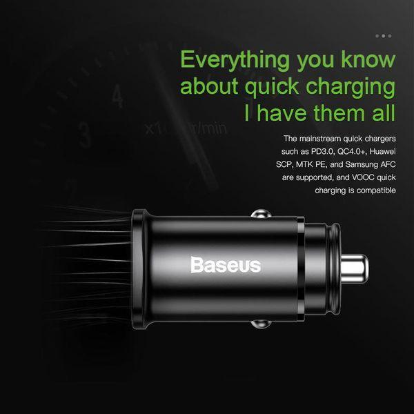 Baseus Square - Ładowarka samochodowa USB-A QC 4.0 + USB-C PD 3.0 30 W (czarny) zdjęcie 4