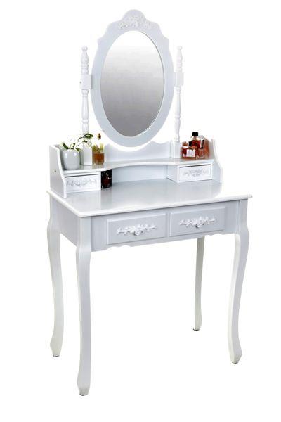 Toaletka kosmetyczna GIOSEDIO biała z lustrem + taboret,model DTW003 zdjęcie 3