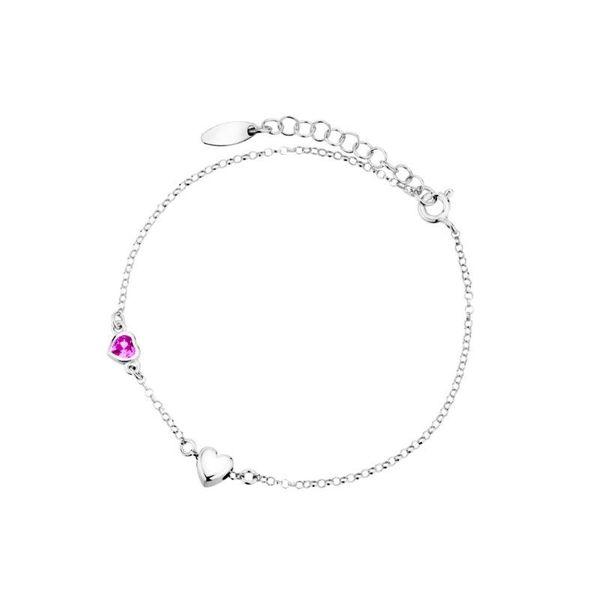 bransoletka łańcuszkowa z serduszkami srebro 925 i kryształek zdjęcie 1