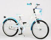 Rower dziecięcy FLOWERS 20 cali dla dziewczynki - biało-niebieski.