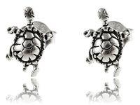 Delikatne oksydowane srebrne kolczyki celebrytki żółw żółwik turtle srebro 925 K2888