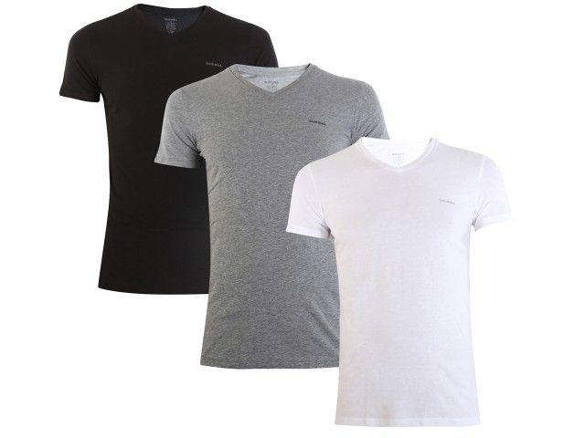 DIESEL UMTEE SHIRT JAKE V-NECK 3-PACK White/Grey/Black 00SPDM-0AALW-01 - XL zdjęcie 10
