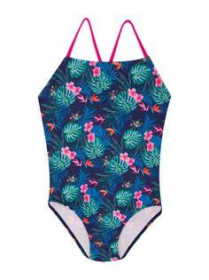 Kostium kąpielowy jednoczęściowy dziewczęcy granatowy tropikalny wzór  128-144