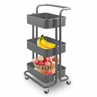 """17766 Wózek kuchenny z 3 koszami """"IKEA"""" antracytowy z blokadą kółek"""