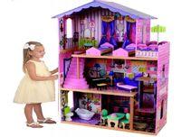 duży 3 piętrowy drewniany domek dla lalek barbie światło Led 110cm