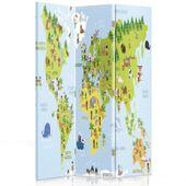 Parawan pokojowy, Mapa świata dla dzieci 110x180