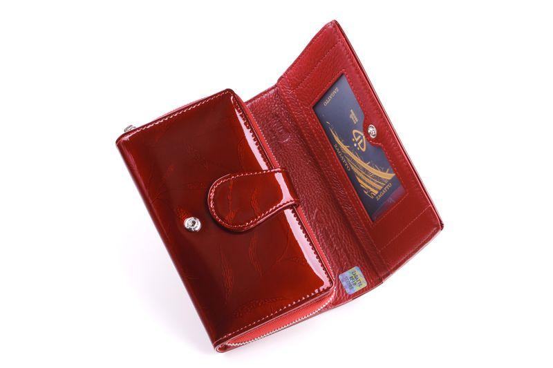 Mały portfel skórzany damski Zagatto czerwony liście RFID ZG-113 Leaf zdjęcie 6