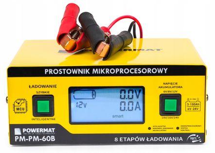 Prostownik MIKROPROCESOROWY Akumulatorowy 6V - 24V 2 LATA GWARANCJA