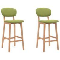 Krzesła barowe, 2 szt., zielone, tapicerowane tkaniną
