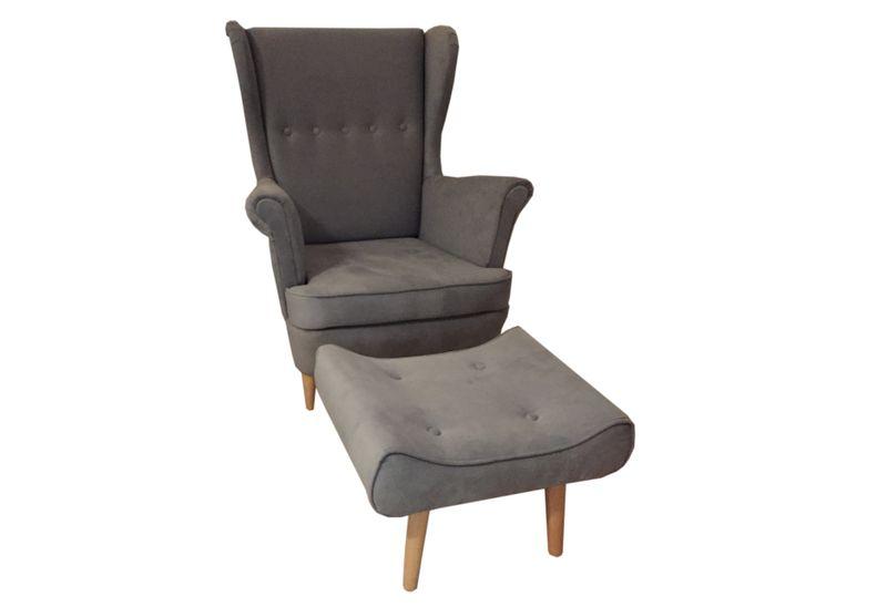 Fotel + podnóżek USZAK w tkaninie plamoodpornej  NOWOŚĆ zdjęcie 1