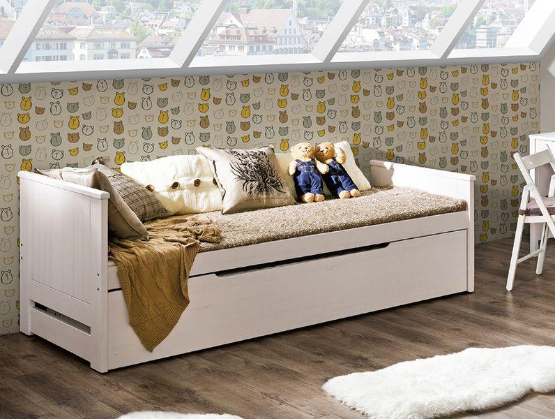 Łóżko podwójne z pojemnikiem 90 x 200 + 90 x 197 TOMI na Arena.pl