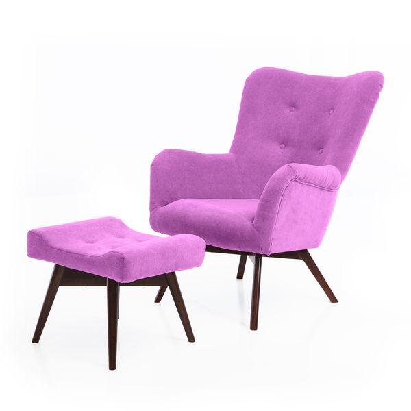 Fotel uszak mały styl skandynawski podnóżek gratis zdjęcie 12
