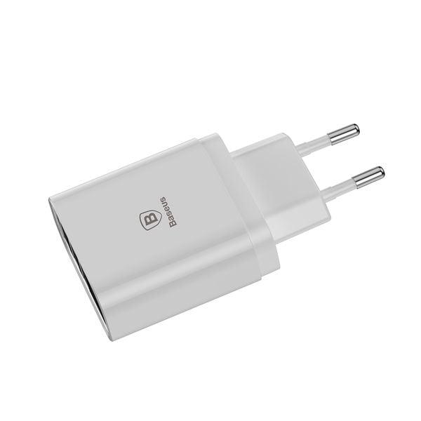 Baseus Mirror Lake inteligentna ładowarka sieciowa adapter EU z wyświetlaczem napięcia ładowania 3x USB 3.4A biały (CCALL BH02)