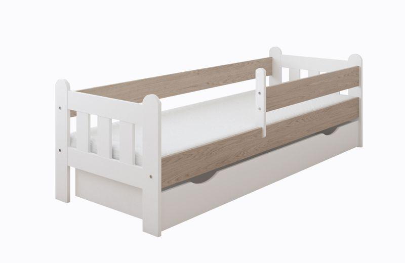 Łóżko STAŚ 140 x 70 z szufladą + barierka ochronna + MATERAC GRATIS zdjęcie 3