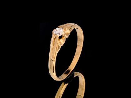 P491 Złoty pierścionek z cyrkonia / ZARĘCZYNOWY 585 /Jubi