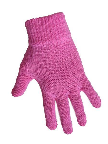 1 Kiddy rękawiczki 5-palczaste jednokolorowe różowe zdjęcie 1