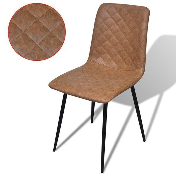 Krzesło Krzesła Do Jadalni Skórzane Brązowe 2 Sztuki