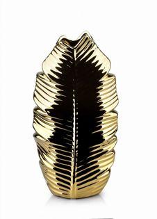 Wazon Ceramiczny 15X8X28.5Cm Leaf Gold Mondex Htts6932